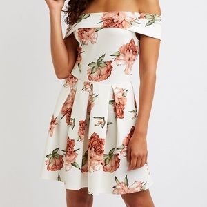 Off The Shoulder Floral Skater Dress NWOT